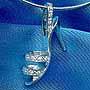 925純銀方晶鋯石吊咀(立體高跟鞋)+純銀頸圈